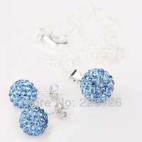 Free shipping!!Hot Wholesale 100% New Fashion 925 Sterling Silver & Rhinestone Necklace and Earrings Set XS03