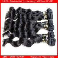 3 bundles loose wave mix size 12''-32'' 100% Brazilian Virgin Human Hair Extensions loose wavy Unprocessed Weave