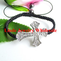 Free Shipping! NEW STYLE BRACELET Wholesale Rhinestone Carved Rome Cross shamballa sideway braclet 12pcs/lot White ATR0147