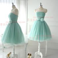 Free shipping Bridesmaid dress short design sisters dress fresh mint green tube top bandage wedding dress one-piece dress