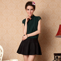 2013 women's fashion elegant color block decoration expansion bottom one-piece dress summer short skirt