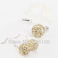 Free shipping!!Hot Wholesale 100% New Fashion 925 Sterling Silver & Rhinestone Necklace and HOOK Earrings Set XS10