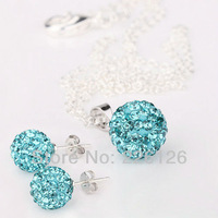 Free shipping!!Hot Wholesale 100% New Fashion 925 Sterling Silver & Rhinestone Necklace and Earrings Set XS02