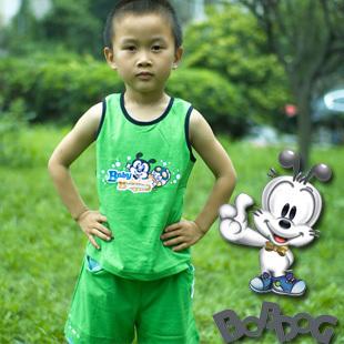 2012 male child bbd set fashion cartoon vest shorts green vest green shorts
