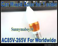 1PCS/LOT 3W High power AC85C-265V E27 Candle Light Cream White Flame Shape Glass Cap LED bulb LED Lamp 6colors Golden Case LC20