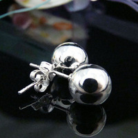 925 Earrings - PBE073 free shipping 8mm beads 925 silver earrings,high quality,classic jewelry, Nickle free,antiallergic