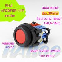 5pcs dia.30mm fuji similar AR30F0R flat head momentary reset push button switch 1NO+1NC/2NO/2NC factory shipping free