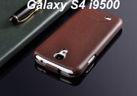 Free DHL Shipping 50pcs Wholesale Flip Genuine Leather Case Fashion with LOGO Case For Samsung Galaxy S4 S IV i9500