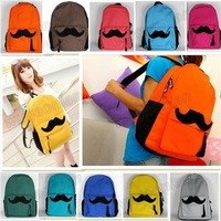 Hot Sale!Women Girl Canvas Mustache School Book Campus Bag Backpack 10 Colors Free Shipping 1pcs/lot