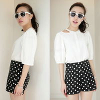 Fashion Women's Polka Dot High Waist Casual Summer Shorts Cotton Pants Short Trousers Black Clothing S M Free Shipping New 0836
