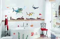 Holiday Promotion Happy Shark Ocean World  Catoon Kids Room Wall Sticker Decorations Home Decorative art mural Removable DIY