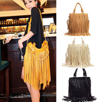 2013 new fashion Punk Tassel Fringe Womens Fashion pu Leather handbag Shoulder Bag Women's rivet Tote bag free shipping