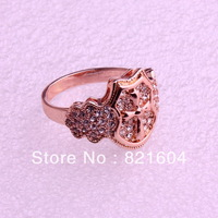 Free Shipping Fashion Jewelry  Rose Gold Plated Cross Rings With Rhinestone For Sale WNR423