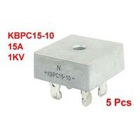 5pcs 1KV 15A Single Phase Diode Bridge Rectifier Silver Tone KBPC15-10 for PCB