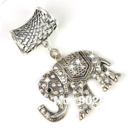 Min order $15 ,Hot sale best alloy indian elephant with rhinestones design metal jewelry scarf pendant sets slid ,PT-628