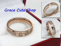 Free Shipping Brand Designer Ring Crystal Jewelry 3-Colors 1:1 Top Quality Package(Card,Original Box,Gift Box) #CTR38-Rose Gold