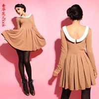 Vintage 2014 turn-down collar fashion knitted high waist one-piece dress princess dress sexy one-piece dress