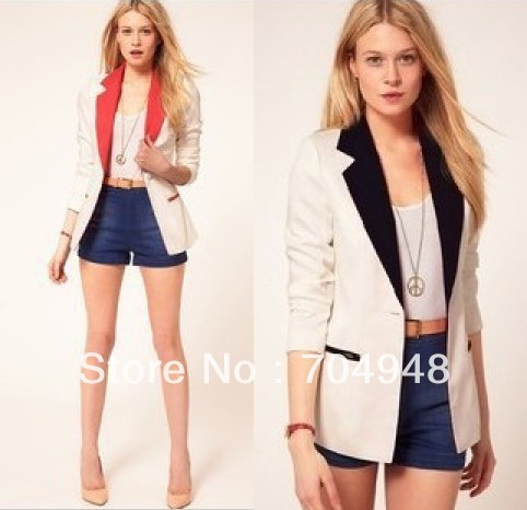 Free Shipping 2013 Spring and Autumn New Popular Womens' Casual Suit Blazer jacket Lady Slim Lapel shrug Blazer Outwear S M L(China (Mainland))