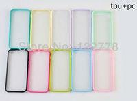 Semi  Clear  Plastic Bumper  Transparent  TPU + PC  Case for iPhone 5  + Fast   Shipping +100pcs/lot