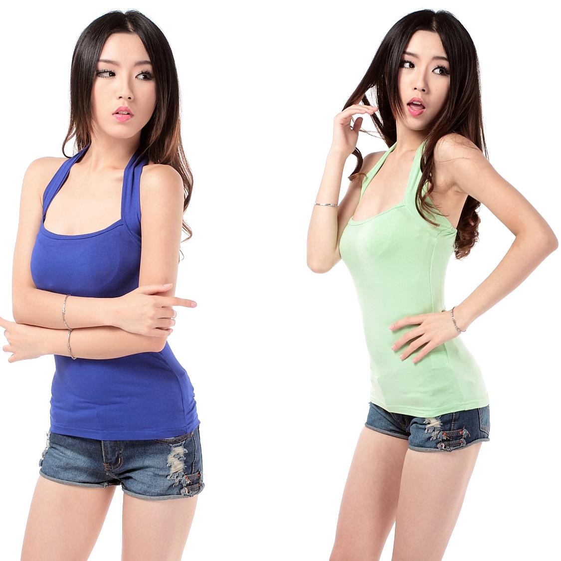 Shirt Halter Neck Basic Shirt Slim Small Vest Fashion Racerback Font