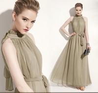 2013 summer women's fashion bohemia full dress stand collar banquet chiffon one-piece dress
