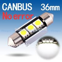 20pcs  36mm 3 SMD Pure White Dome Festoon CANBUS Error Free Car 3 LED Light Bulb Lamp