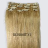 """New 26"""" Blended Women Hair Clip In Extensions 105g  Light Golden Blonde #22"""
