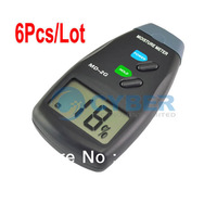 Wholesale 6Pcs/Lot LCD digital Wood Moisture Meter Detecotr Tester 2-Pin dropshipping 308