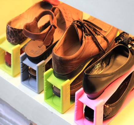 2 Layer Shoe Storage Rack Shelf Holder Organizer Save Space 4 Pcs H-G1969