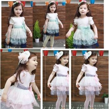 2013 Factory Wholesale Fashion Fairy Cake Dress Girls Cotton Dresses Best Selling Lace Bow Decration 5 Pcs A Lot Free Shipping