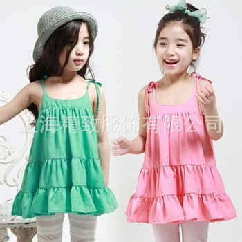 HOT Selling Girls Draped Suspender Dresses Wholesale Summer Girls Dresses Pink Green 2 Colors 10 Pcs a Lot Fast Free Shipping
