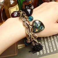 accessories fashion peacock feather big peach heart leaves tassel key pendant vintage bracelet female 40g
