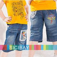 Girls Shorts Summer Wear Free Shipping Kid Cartoon Half Jeans Children Summer Trousers, 5pcs/lot  K0879