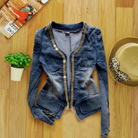 FASHION Chains Cardigan Denim Jacket Long Sleeve Plus size Women Denim Jean Clothing Coat Lady Top