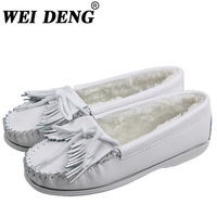 Winter thermal mini shoes genuine leather tassel thangka plus cotton flat casual shoes