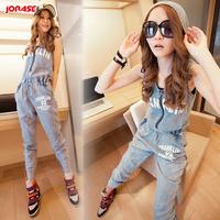 Denim overalls women 2013 Fashion womens jumpsuits plus size blue jean long pants romper High quality Free shippig