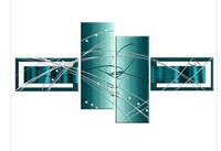 shipping free  LARGE TEAL TURQUOISE ABSTRACT CANVAS PICTURES SPLIT MULTI 4 PANELa54