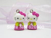10 pieces Hello Kitty Pendant Charm Figurine Cute Fashion DIY Accessories ALK353 Wholesale