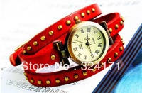 DHL Free Shipping Women's Genuine Cow leather farivet vintage Wrap Women watch wind long strap bracelet ROMA numbers