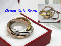 Free Shipping Lady Classic Ring Brand Crystal Jewelry 3 Ring Together 1:1 Top Quality Package(Card,Original Box,Gift Box) #CTR46