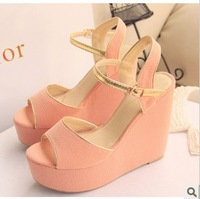 Beautiful comfortable wedges button open toe sandals brief hasp high-heeled platform sandals women's shoes