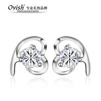 925 pure silver stud earring heart silver jewelry earring birthday gift anti-allergic girlfriend gifts