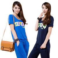 female  summer plus size clothing slim sports set