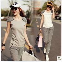 2013 summer casual set female slim short-sleeve fashion sportswear set Women