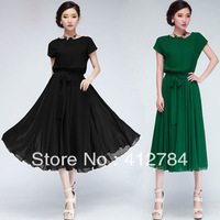 Free shipping 2013 summer new fashion chiffon dress bohemian dress put on a large S / M / L / XL 2 color
