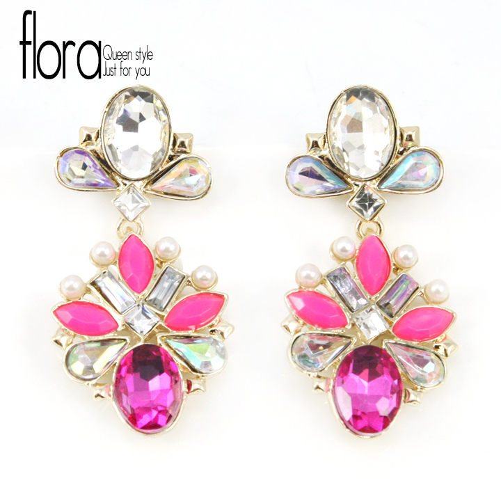 Free shipping 2013 Newest Fashion Jewelry Colorful Gorgeous Rhinstone Drop Earrings Evening Dress Jewelry(China (Mainland))