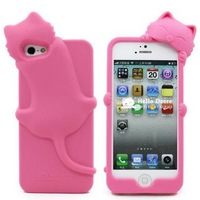 High Quality Colorful Candy Color Colors Kiki Cat Design Silicone Case for Apple iPhone 4 4G 4S 5 5G 5S  1pcs/lot