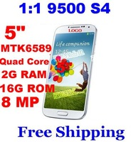 "DHL Free Shipping 1:1 New MTK6589 1.6Ghz Android 4.2 mobile phone 5"" 2GB RAM+16G ROM for samsung Galaxy 9500 I9500 S4 phone 2pc"