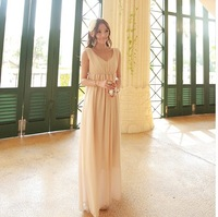Chiffon maternity dress bohemia dress full beige orange full maternity dress