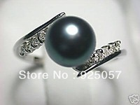 REAL NATURAL BLACK AKOYA PEARL RING SIZE 7-8 DF012